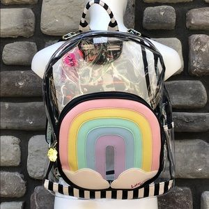 Clear Backpack Large Betsey Johnson w Rainbow NWT